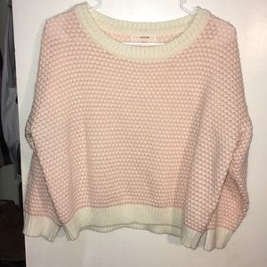 Sweaters - White & Pink Heart Cropped Sweater